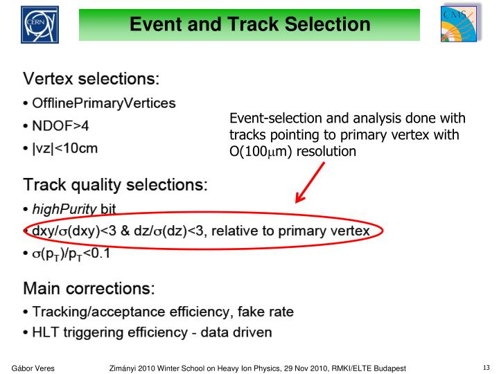 Event and Track Selection