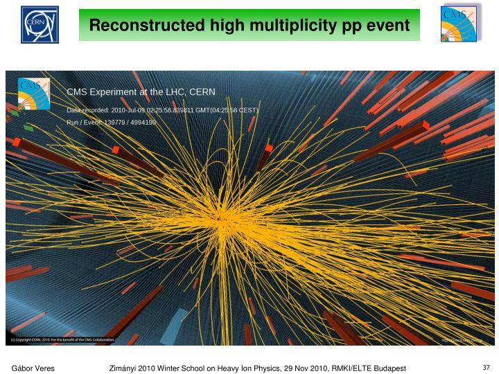 Reconstructed high multiplicity pp event