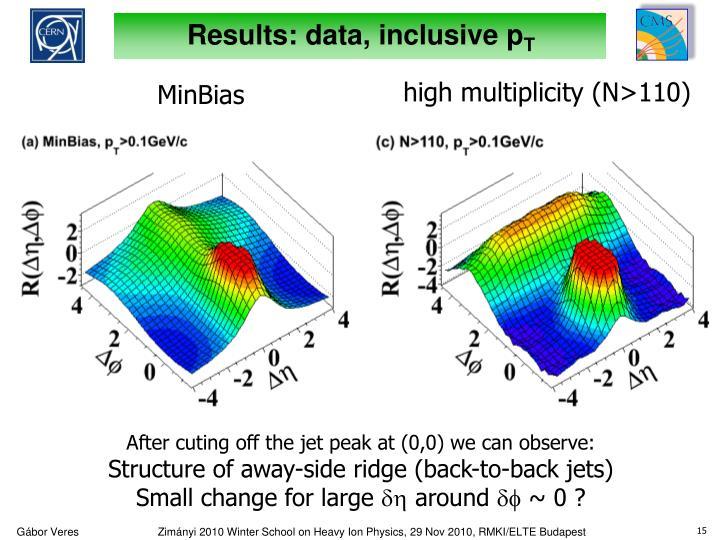 Results: data, inclusive p