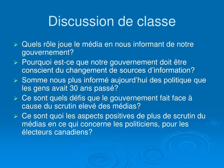 Discussion de classe