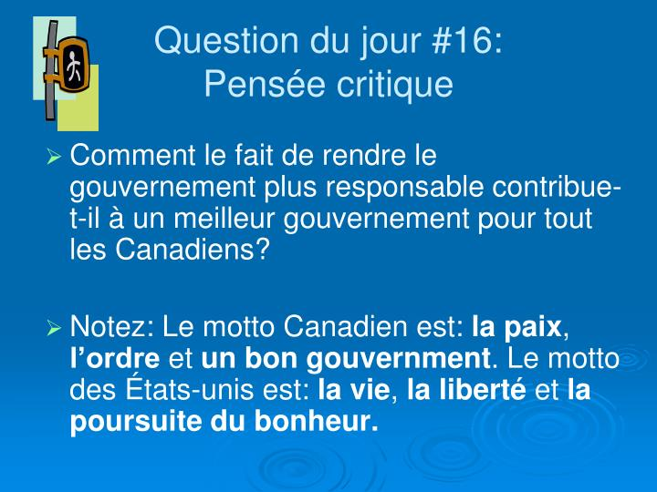 Question du jour #16: