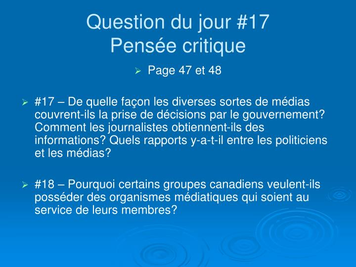 Question du jour #17