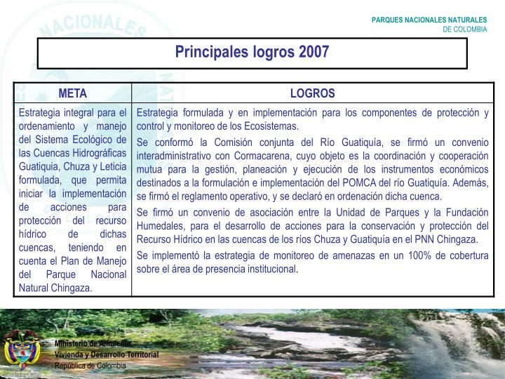 Principales logros 2007