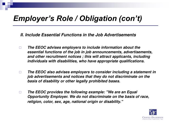 Employer's Role / Obligation (con't)