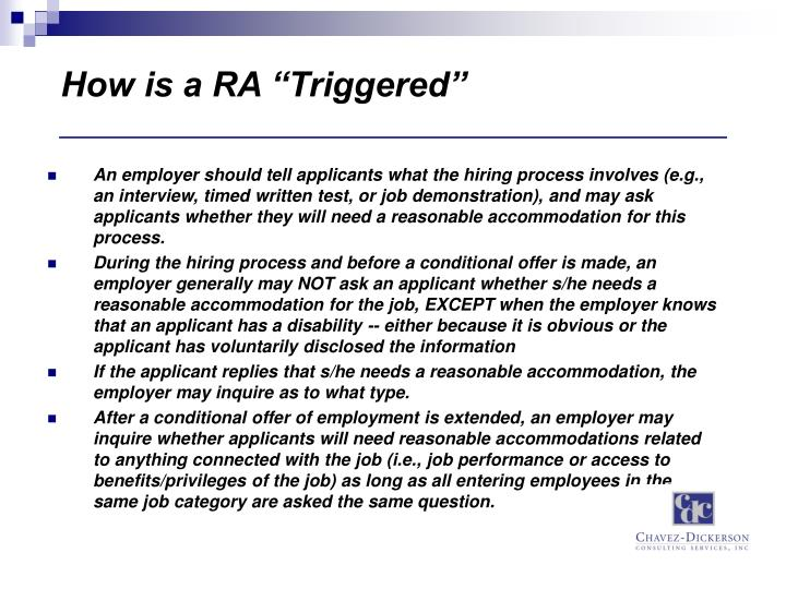 "How is a RA ""Triggered"""