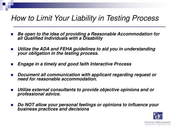How to Limit Your Liability in Testing Process
