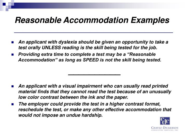 Reasonable Accommodation Examples