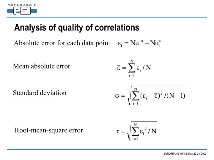 Analysis of quality of correlations