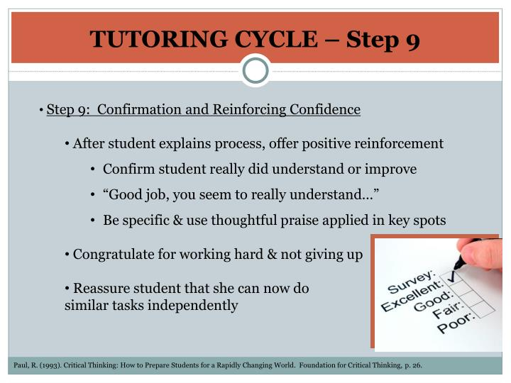 TUTORING CYCLE – Step 9