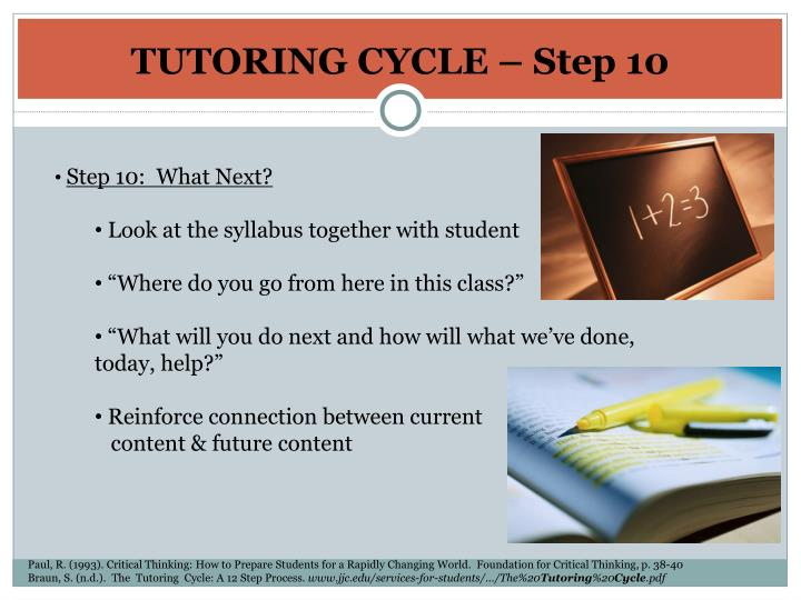 TUTORING CYCLE – Step 10