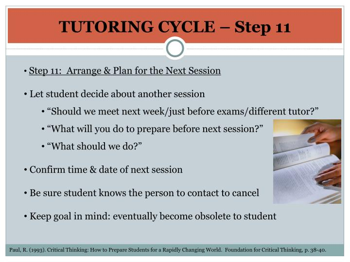 TUTORING CYCLE – Step 11