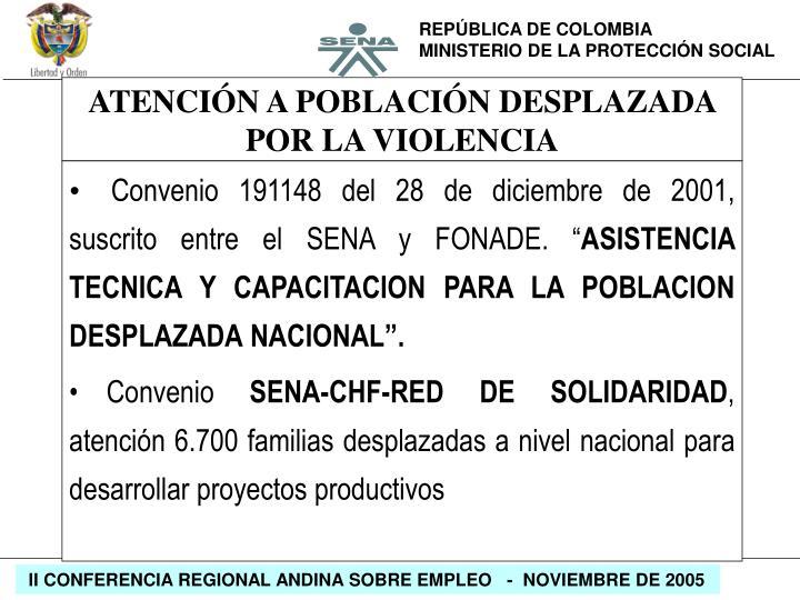 """Convenio 191148 del 28 de diciembre de 2001, suscrito entre el SENA y FONADE. """""""