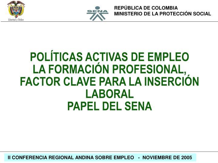 POLÍTICAS ACTIVAS DE EMPLEO