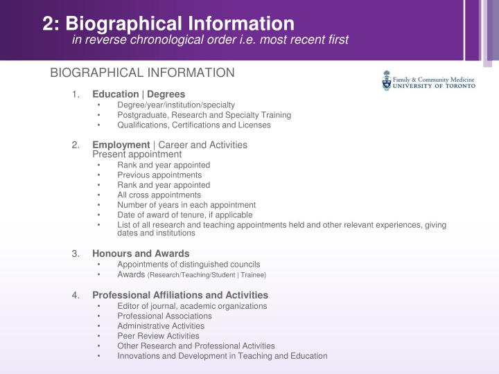 2: Biographical Information