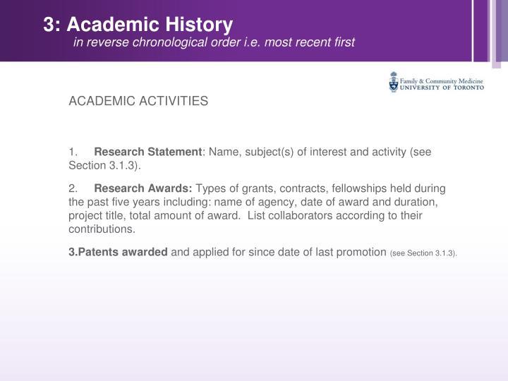3: Academic History