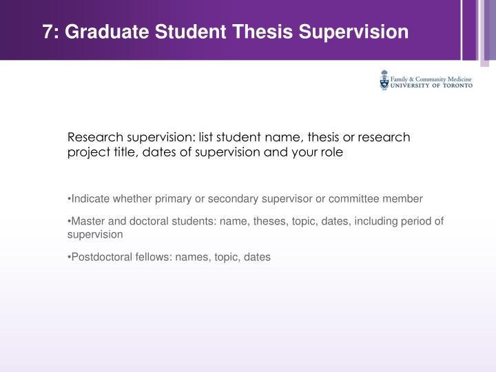 7: Graduate Student Thesis Supervision
