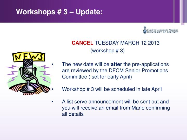 Workshops # 3 – Update: