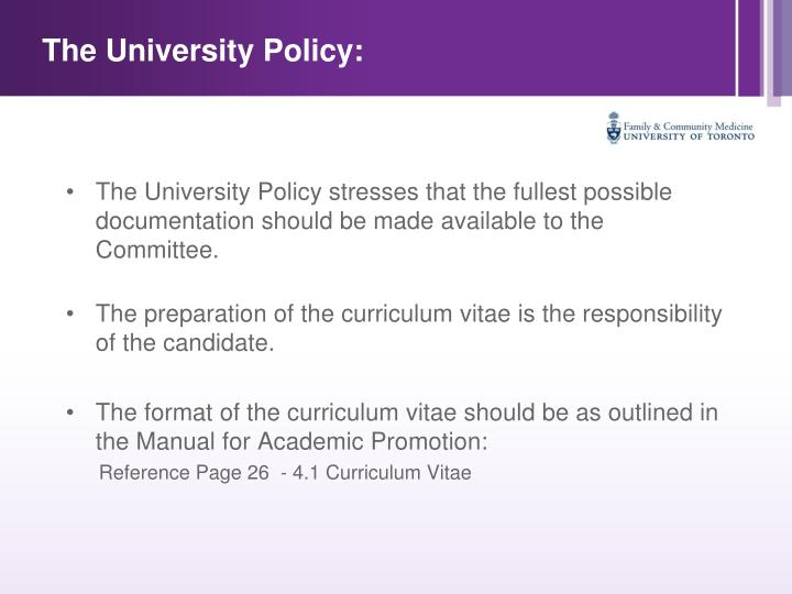 The University Policy: