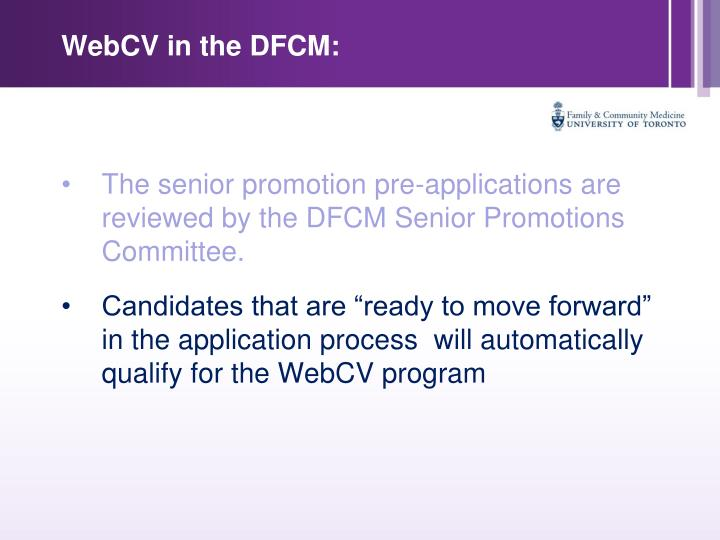 WebCV in the DFCM: