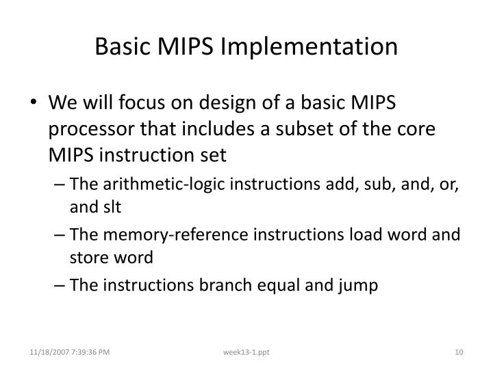 Basic MIPS Implementation