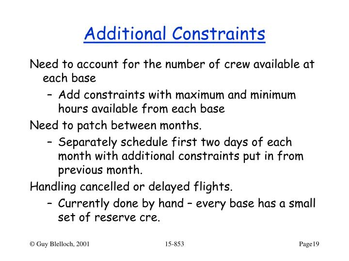 Additional Constraints