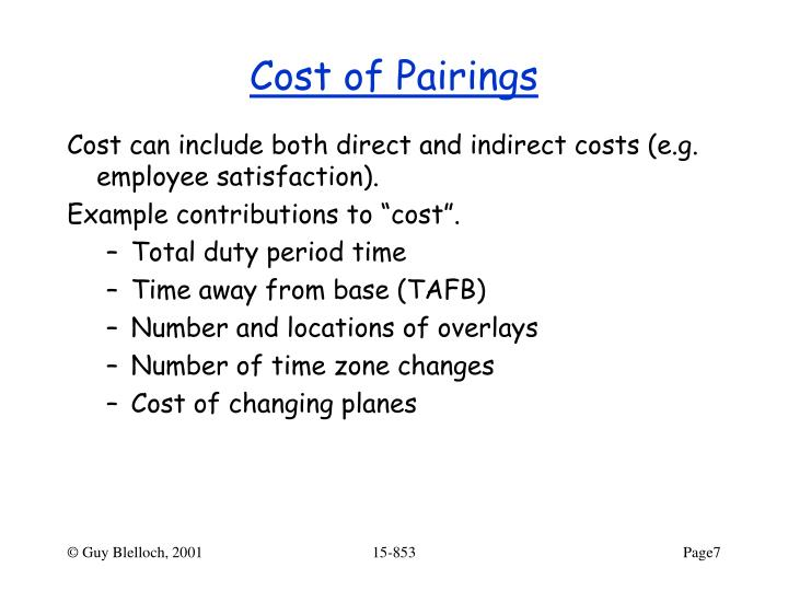 Cost of Pairings