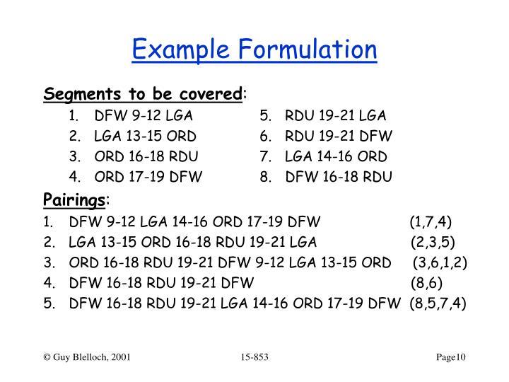 Example Formulation