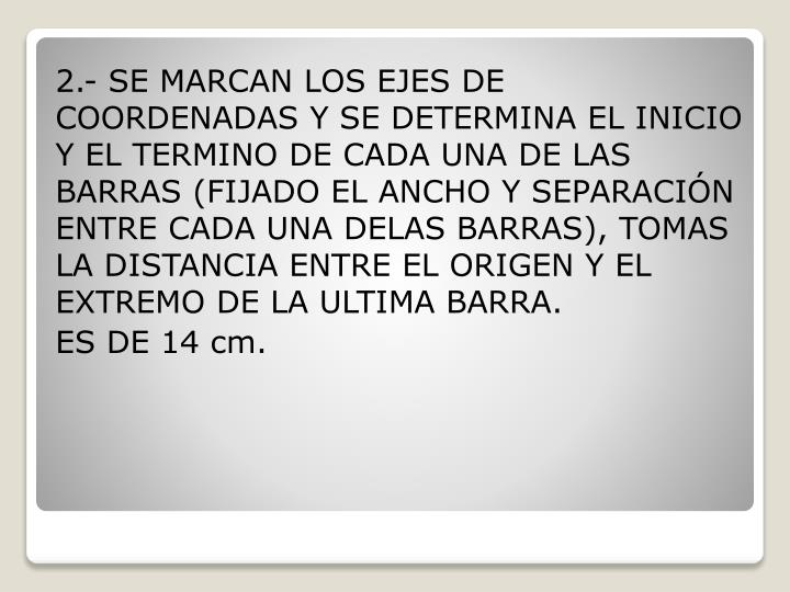 2.- SE MARCAN LOS EJES DE COORDENADAS Y SE DETERMINA EL INICIO Y EL TERMINO DE CADA UNA DE LAS BARRAS (FIJADO EL ANCHO Y SEPARACIÓN ENTRE CADA UNA DELAS BARRAS), TOMAS LA DISTANCIA ENTRE EL ORIGEN Y EL EXTREMO DE LA ULTIMA BARRA