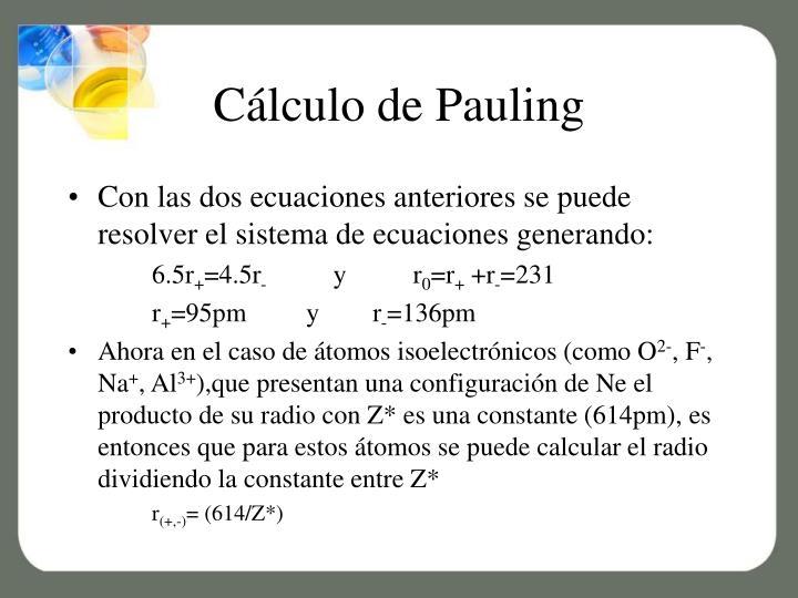 Cálculo de Pauling