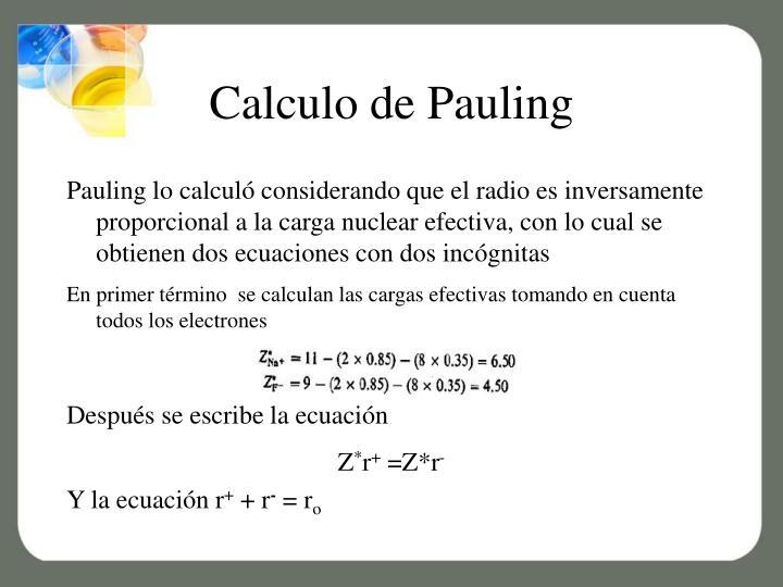 Calculo de Pauling