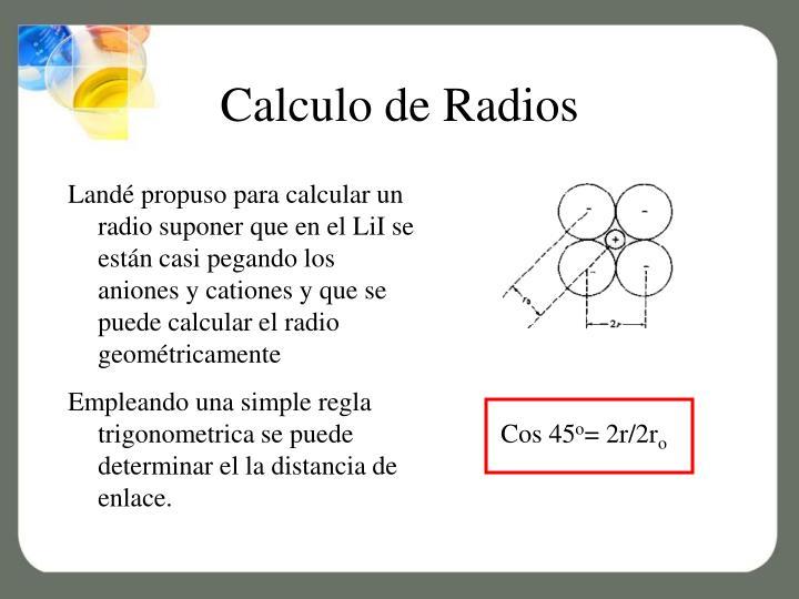 Calculo de Radios