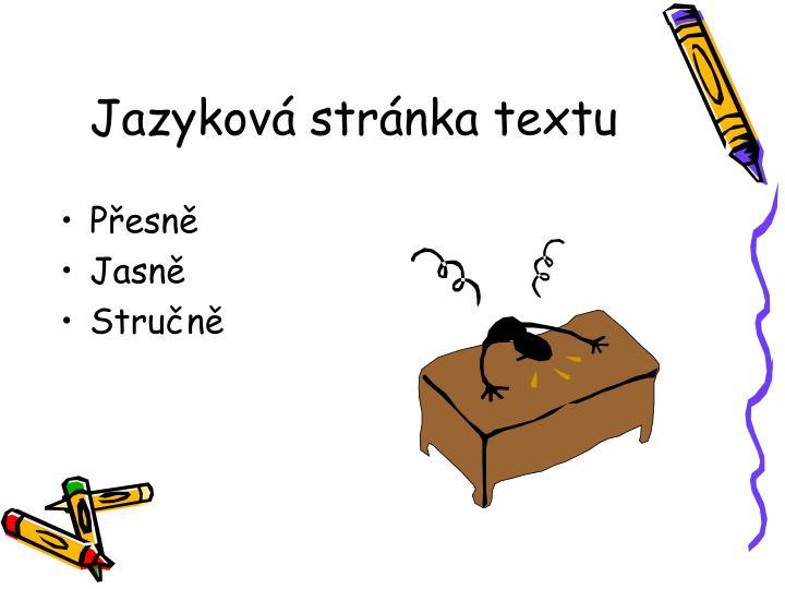 Jazyková stránka textu