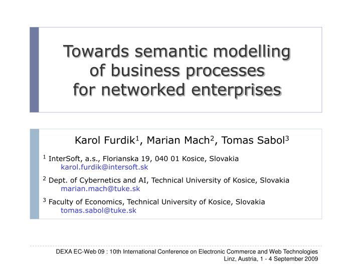 Towards semantic modelling