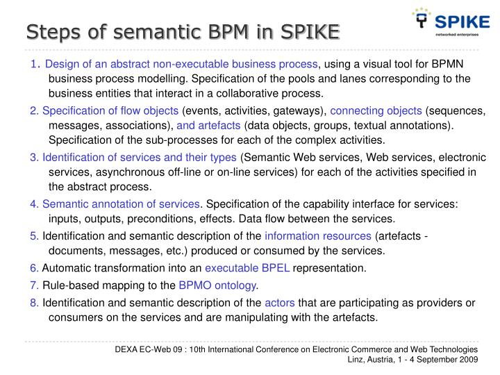 Steps of semantic BPM in SPIKE