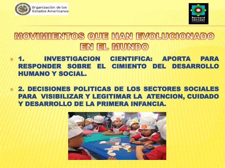 1.  INVESTIGACION CIENTIFICA: APORTA PARA RESPONDER SOBRE EL CIMIENTO DEL DESARROLLO HUMANO Y SOCIAL.