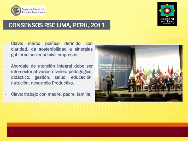 CONSENSOS RSE LIMA, PERU, 2011