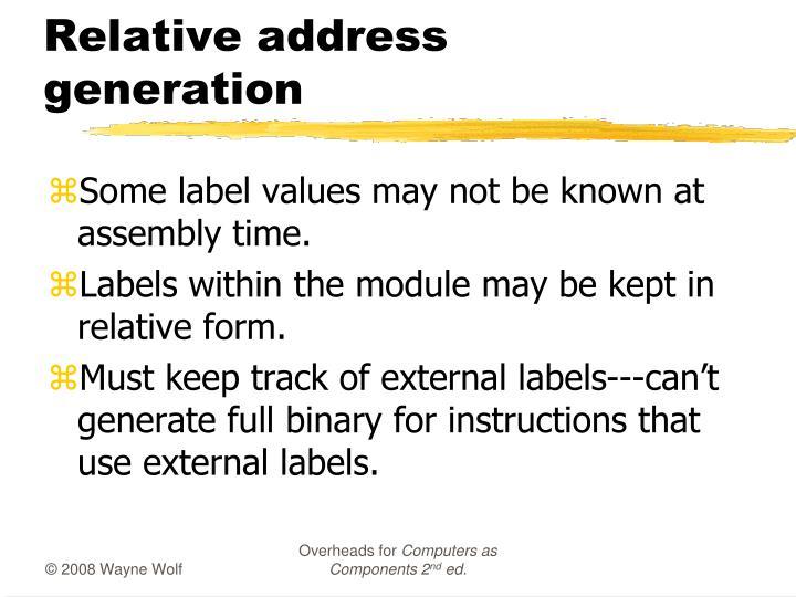 Relative address generation