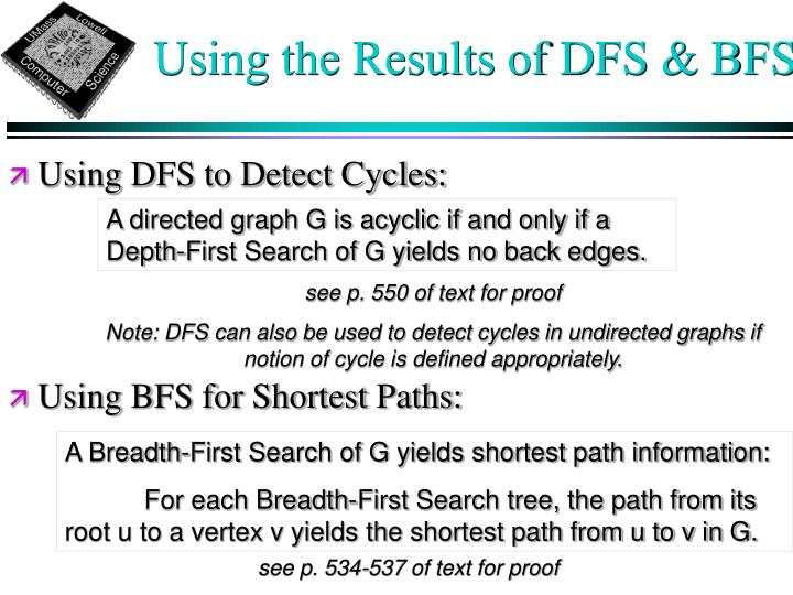Using the Results of DFS & BFS