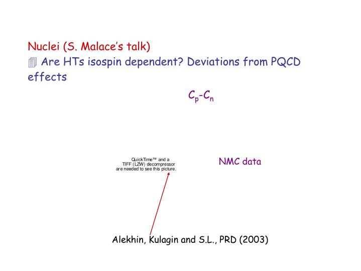 Nuclei (S. Malace's talk)