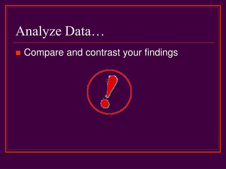 Analyze Data…
