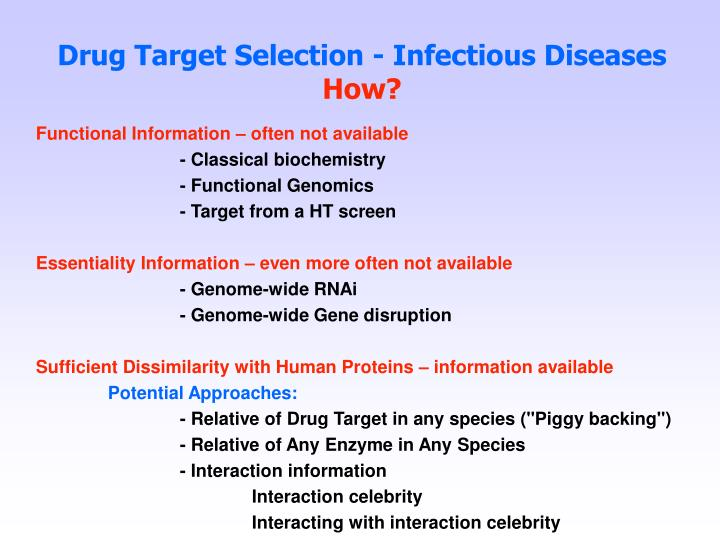 Drug Target Selection - Infectious Diseases