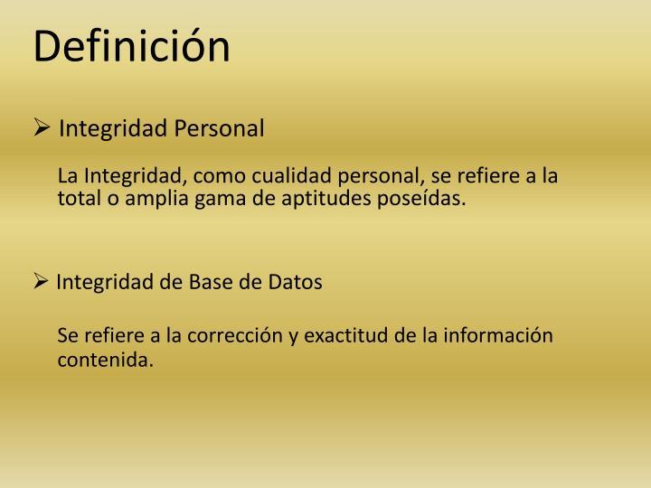 Integridad Personal