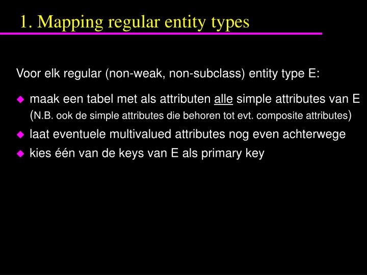 1. Mapping regular entity types