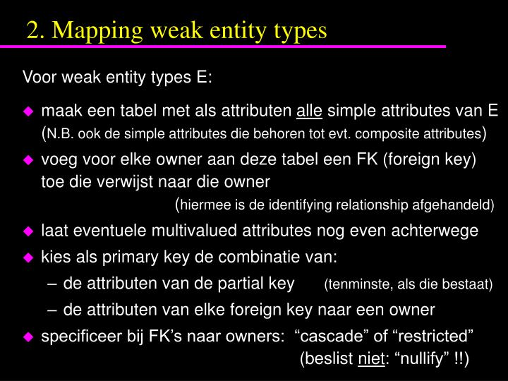 2. Mapping weak entity types