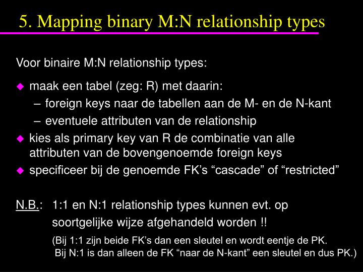 5. Mapping binary M:N relationship types