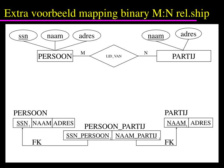 Extra voorbeeld mapping binary M:N rel.ship