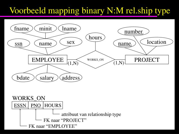 Voorbeeld mapping binary N:M rel.ship type