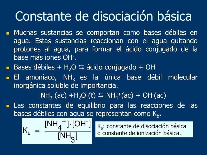 Constante de disociación básica