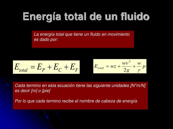 Energía total de un fluido