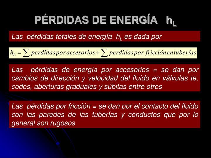 PÉRDIDAS DE ENERGÍA   h